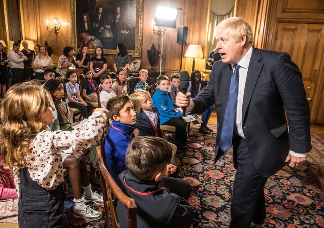 British Prime Minister Boris Johnson takes questions from children aged 9-14 during an education announcement inside Downing Street in London, Britain, August 30, 2019.