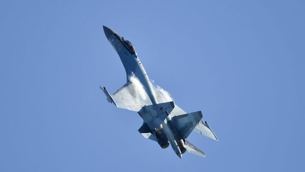 Russian multipurpose Su-35 jet performs at the MAKS-2019 international aviation and space show in Zhukovsky outside Moscow. - Sputnik International