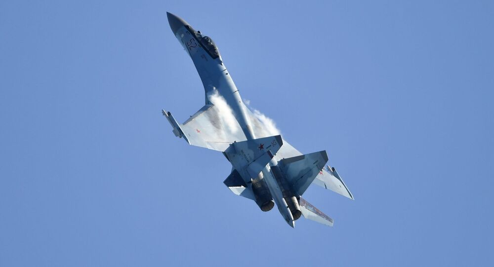 Russian multipurpose Su-35 jet performs at the MAKS-2019 international aviation and space show in Zhukovsky outside Moscow.