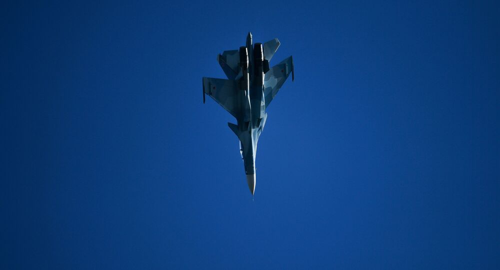 A Sukhoi Su-30SM fighter performs at the MAKS-2019 International Aviation and Space Show in Zhukovsky, outside Moscow, Russia.