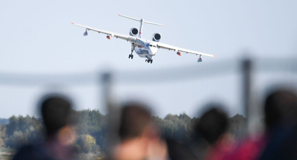 A Beriev Be-200ES amphibious aircraft performs at the MAKS-2019 International Aviation and Space Show in Zhukovsky, outside Moscow, Russia.
