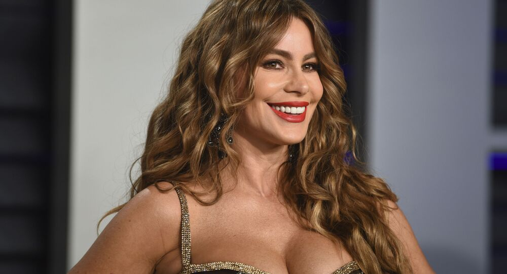 Sofia Vergara arrives at the Vanity Fair Oscar Party on Sunday, Feb. 24, 2019, in Beverly Hills, Calif.