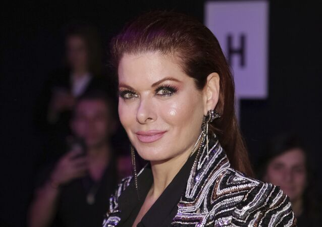 Debra Messing attends the Naeem Khan Runway Show at Spring Studios during New York Fashion Week on Tuesday, Feb. 12, 2019 in New York.