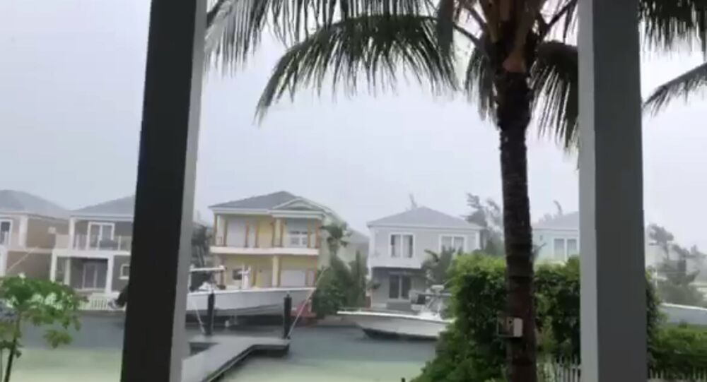 This video grab image shows boats are tied up in preparation for the approach of Hurricane Dorian on September 1, 2019 in Sandyport, Nassau, Bahamas.