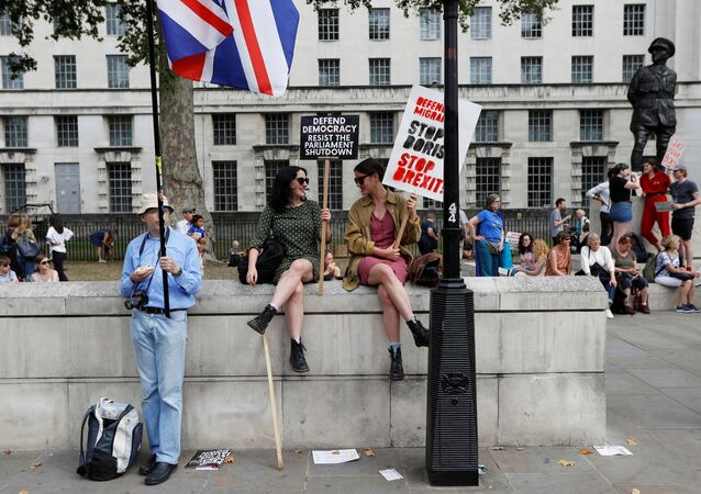 Anti-Brexit protestors sit on the Trafalgar Square in London, Britain, August 31, 2019
