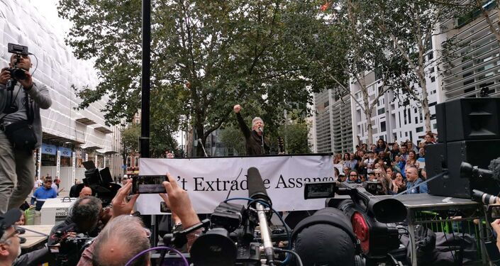 Roger Waters performs in support of Julian Assange outside UK Home Office in London