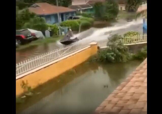 Lmaoo jetski In hurricane Dorain