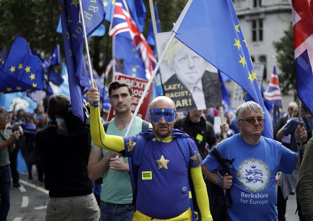 Pro-EU supporters protest during rally in London, Tuesday, Sept. 3, 2019. Parliament was reconvening Tuesday for a pivotal day in British politics as lawmakers challenge British Prime Minister Boris Johnson's insistence that the U.K. will leave the European Union on Oct. 31, 2019 even without a deal