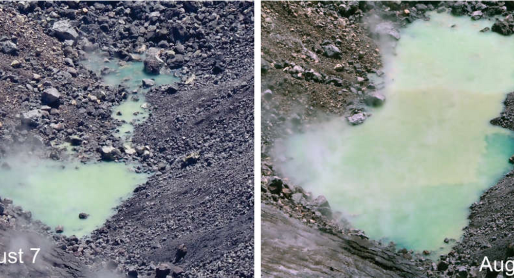 The pond of water at the bottom of Halema'uma'u continues to enlarge. In theses photos from August 23 at 10:32 a.m. (left) and August 25 at 12:22 p.m. (right)