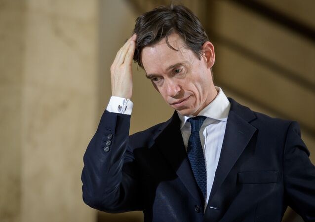 Britain's International Development Secretary Rory Stewart reacts as he attends a press conference following a meeting hold by the United Nations on the Ebola disease in Democratic Republic of Congo, on July 15, 2019, in Geneva