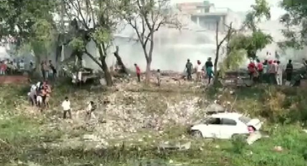 The scene from the blast site at firecracker factory in Gurdaspur