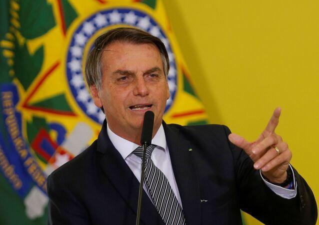 Brazil's President Jair Bolsonaro speaks during a ceremony at the Planalto Palace in Brasilia, Brazil September 3, 2019