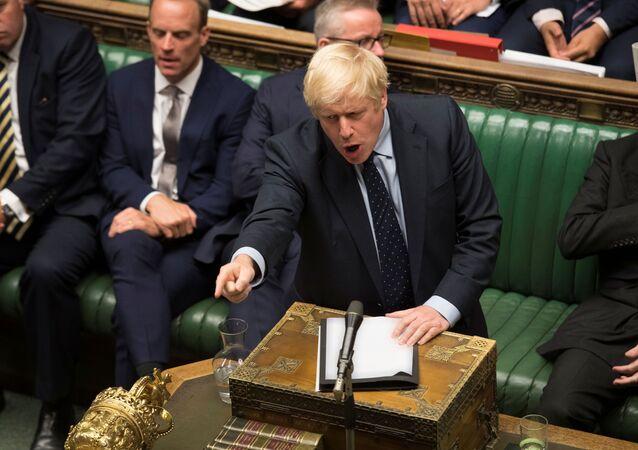 Britain's Prime Minister Boris Johnson speaks in the House of Commons in London, Britain September 3, 2019