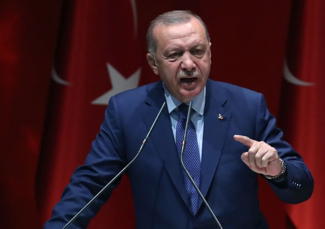 Turkish President Recep Tayyip Erdogan delivers a speech at Justice and Development (AK) Party Headquarters in Ankara on 5 September 2019