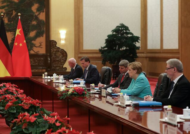 German Chancellor Angela Merkel speaks to Chinese Premier Li Keqiang (not pictured) during their meeting at the Great Hall Of The People in Beijing, China September 6, 2019