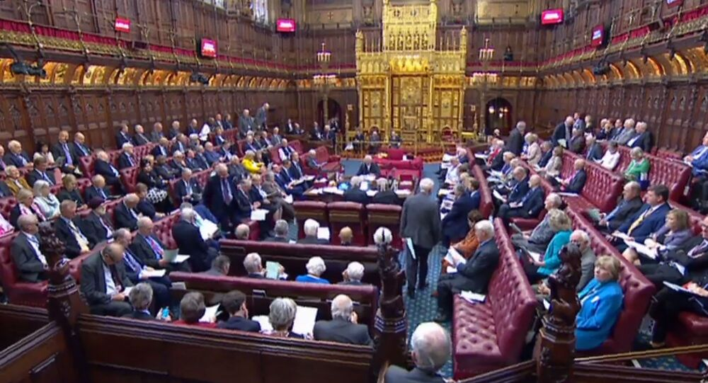 A video grab from footage broadcast by the UK Parliament's Parliamentary Recording Unit (PRU) shows members the House of Lords gathering together to discuss the European Union Withdrawal (No. 6) bill, as proposed by Conservative MP Oliver Letwin, in London on September 6, 2019