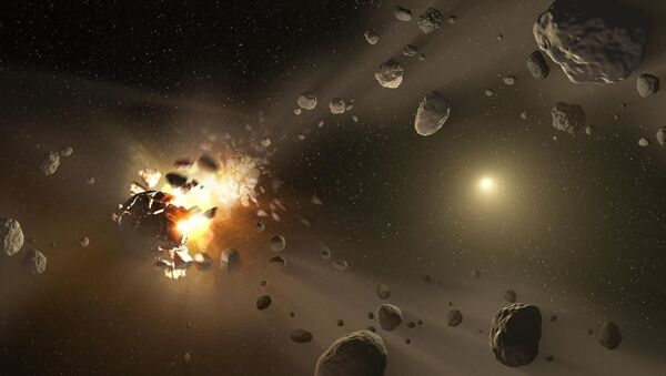 An artist's concept of catastrophic collisions between asteroids located in the belt between Mars and Jupiter. - Sputnik International