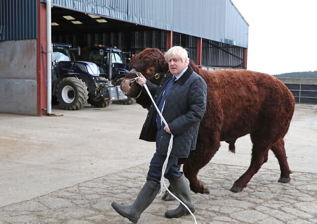 Britain's Prime Minister Boris Johnson visits Darnford Farm in Darnford, Banchory near Aberdeen, Scotland, Britain September 6, 2019