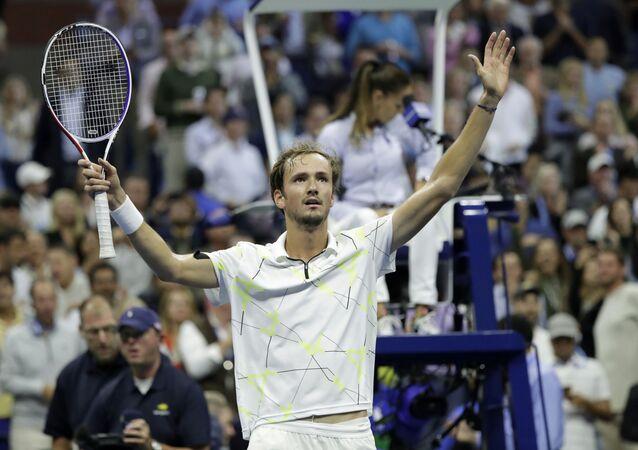 El ruso Daniil Medvedev tras vencer al búlgaro Grigor Dimitrov en las semifinales del US Open, el viernes 6 de septiembre de 2019, en Nueva York.