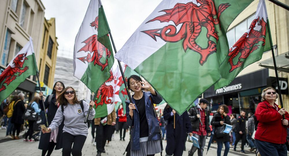 People wave Welsh flags, during a St David's Day Parade in Cardiff, Wales, Friday March 1, 2019