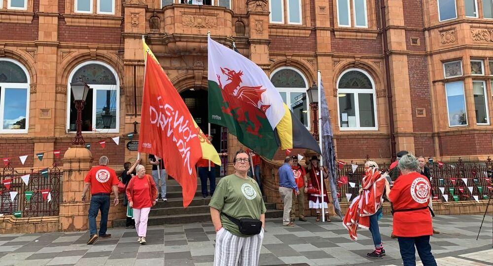Welsh Independence flags being flown outside Redhouse Cymru, in Merthyr Tydfil, Wales.
