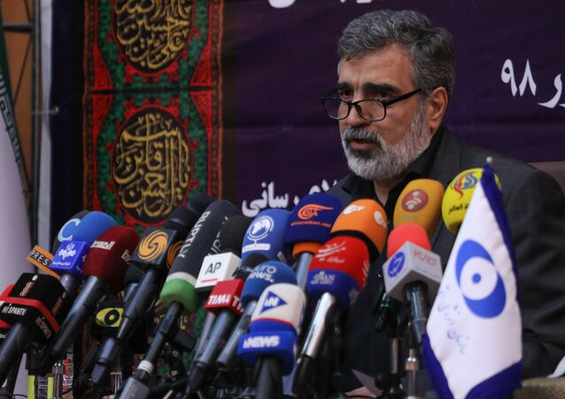 A handout picture released by Iran's Atomic Energy Organization on September 7, 2019, shows spokesman for the organization Behrouz Kamalvandi speaking during a press conference in the capital Tehran.
