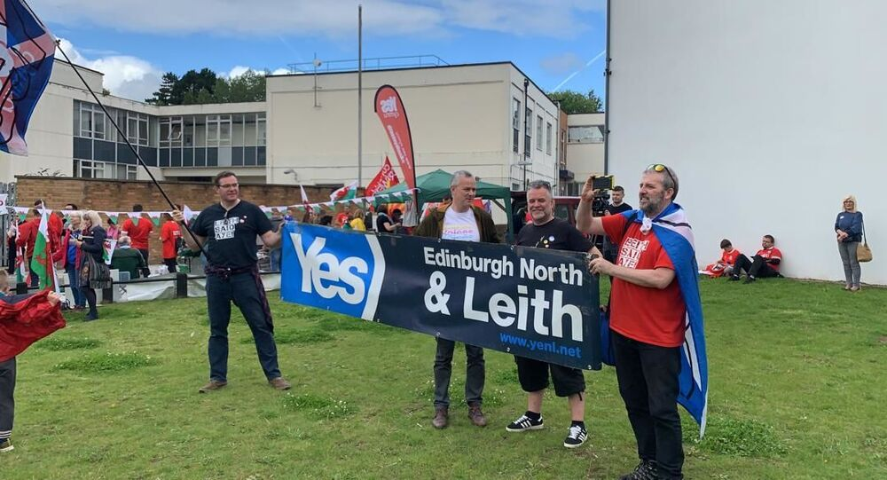 Scottish independence supporters demonstrate with All Under One Banner (AUOB) Cymru