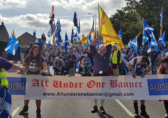 All Under One Banner represent a collection of a Scottish independence groups who have organised marches in Ayr, Aberdeen and Perth