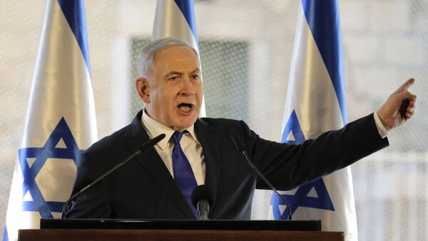 Israeli Prime Minister Benjamin Netanyahu, gestures as he speaks during a ceremony near Hebron's holiest site, known to Jews as the Tomb of the Patriarchs and to Muslims as the Ibrahimi Mosque in the Israeli controlled part of the West Bank city of Hebron, Wednesday, Sept. 4, 2019.  - Sputnik International