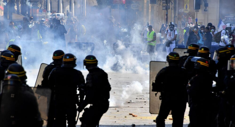 Protesters face French anti-riot police officers during an anti-government demonstration called by the Yellow Vests (Gilets Jaunes) movement on September 7, 2019 in Montpellier, southern France.
