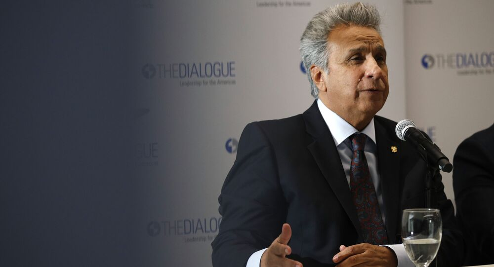 Ecuador's President Lenin Moreno speaks at an event at the Inter-American Dialogue think tank, Tuesday, April 16, 2019, in Washington.