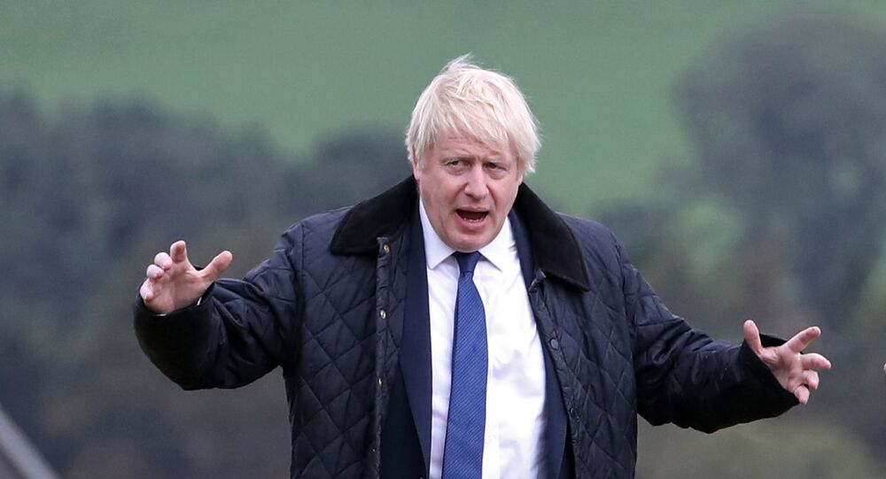 Britain's Prime Minister Boris Johnson gestures as he is shown around Darnford Farm in Banchory near Aberdeen in Scotland on September 6, 2019