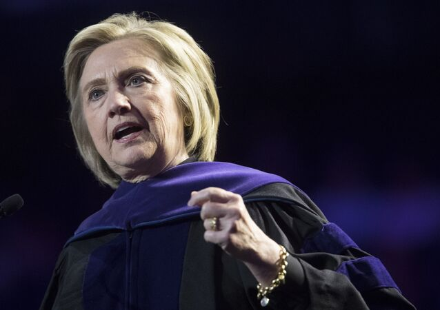 In this 29 May 2019 file photo, former Secretary of State Hillary Clinton delivers Hunter College's commencement address in New York.