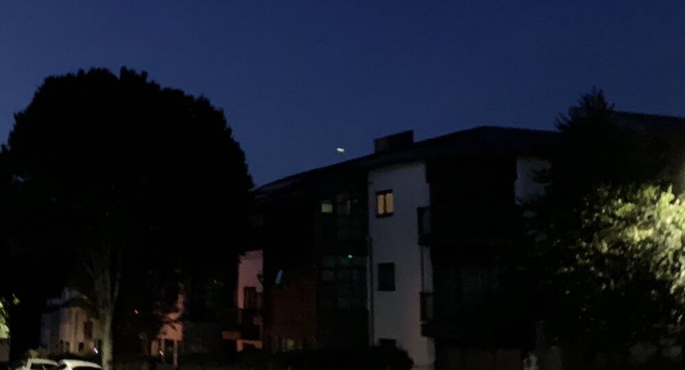 The glowing object can be seen splitting in two as it streaks across the sky over Plymouth.