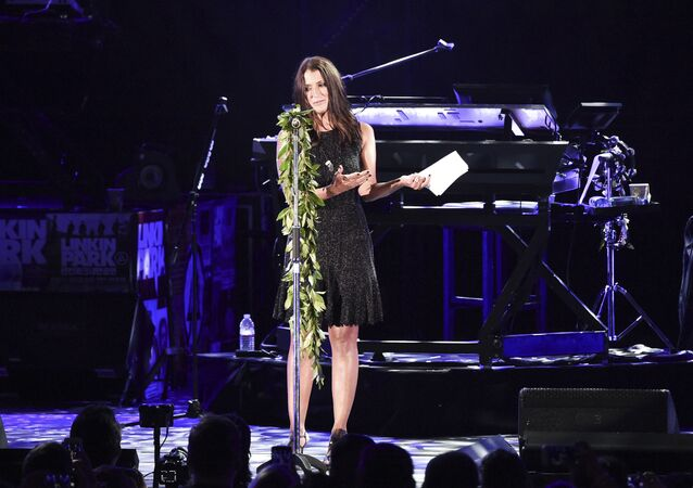 Talinda Ann Bentley speaks during the Linkin Park and Friends Celebrate Life in Honor of Chester Bennington at the Hollywood Bowl on Friday, Oct. 27, 2017, in Los Angeles.