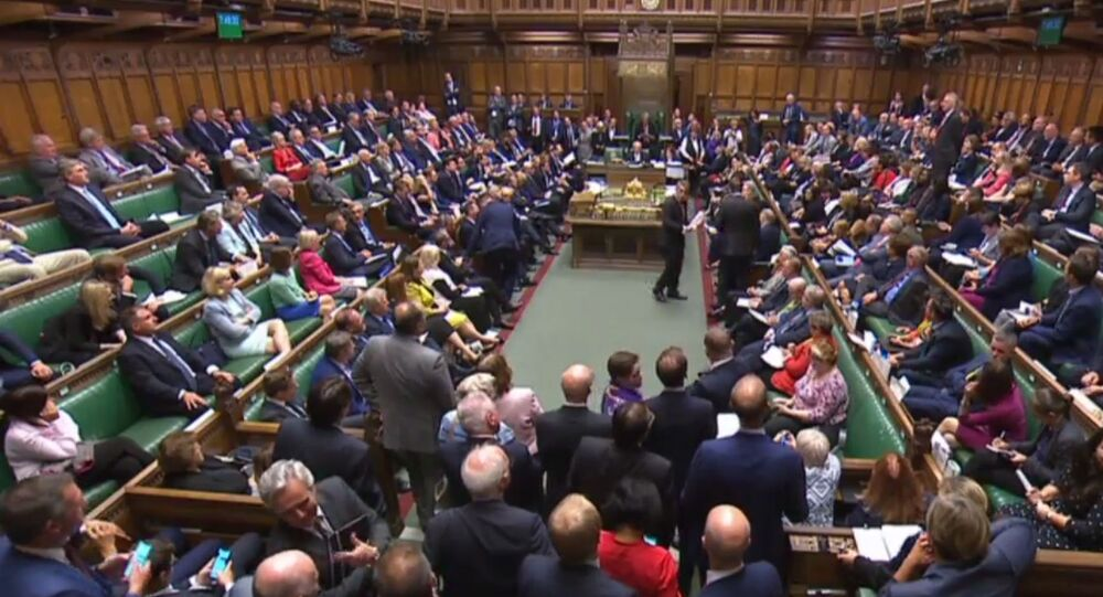 A video grab from footage broadcast by the UK Parliament's Parliamentary Recording Unit (PRU) shows MPs filing back into the House after voting on the third reading of the European Union Withdrawal No 6 Bill, a bill to delay Brexit for three months, in the House of Commons in London on September 4, 2019