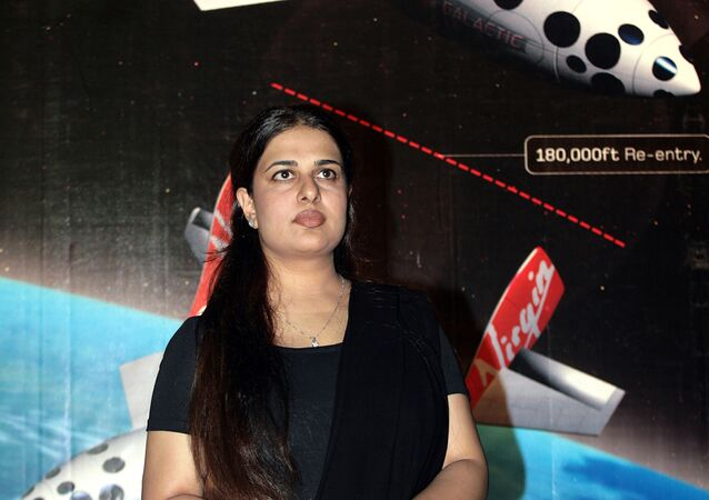 Namira Salim, the first Pakistani woman astronaut, is pictured after a press conference in Islamabad, 17 August 2006