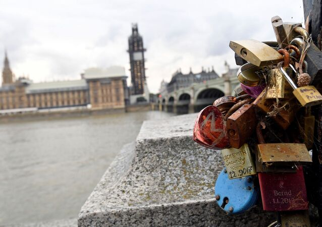 View of padlocks attached to the railings opposite the Houses of Parliament in London, Britain September 9, 2019.