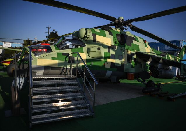 Upgraded combat helicopter MI-24P-1M at MAKS-2019 in Moscow region's Zhukovsky