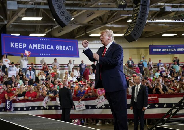 U.S. President Donald Trump holds a campaign rally in Fayetteville, North Carolina, U.S., September 9, 2019