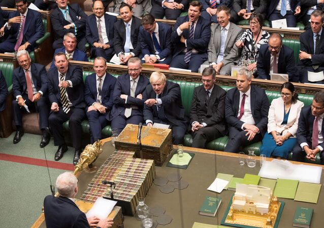 Britain's Prime Minister Boris Johnson gestures as leader of the opposition Labour Party Jeremy Corbyn (bottom) speaks in the House of Commons in London, Britain September 3, 2019