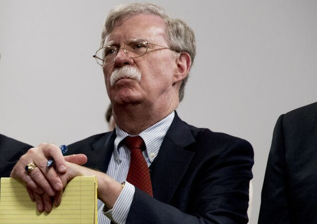 National Security Adviser John Bolton attends a meeting with President Donald Trump as he meets with Indian Prime Minister Narendra Modi at the G-7 summit in Biarritz, France, Monday, Aug. 26, 2019.