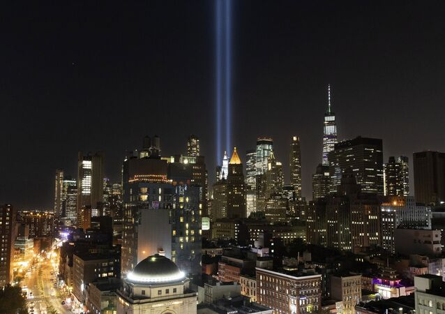 The Tribute in Light rises above the lower Manhattan skyline, Tuesday, Sept. 10, 2019 in New York. Wednesday marks the 18th anniversary of the terror attacks against the United States of Sept. 11, 2001
