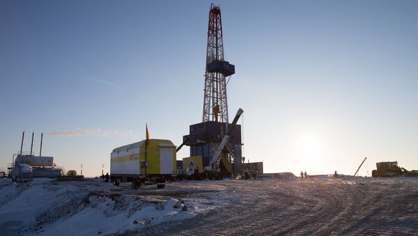 The drilling rig on the drilling site of Tsentralno-Olginskaya-1 well at the Khatangsky license area which is operated by Rosneft - Sputnik International