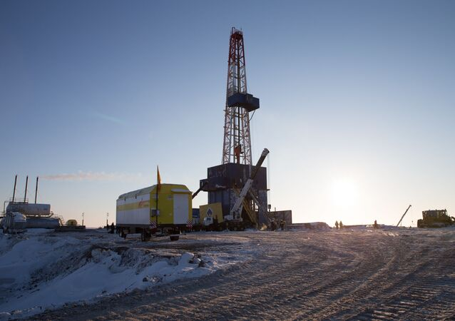 The drilling rig on the drilling site of Tsentralno-Olginskaya-1 well at the Khatangsky license area which is operated by Rosneft