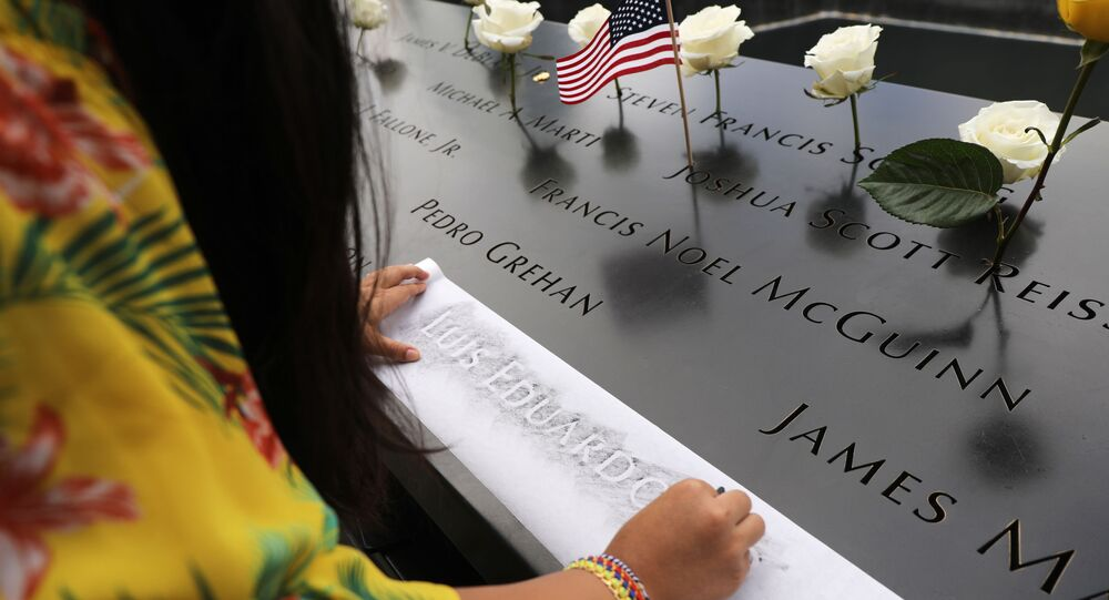 National September 11 Memorial during a morning commemoration ceremony for the victims of the terrorist attacks Eighteen years after the day on September 11, 2019 in New York City.