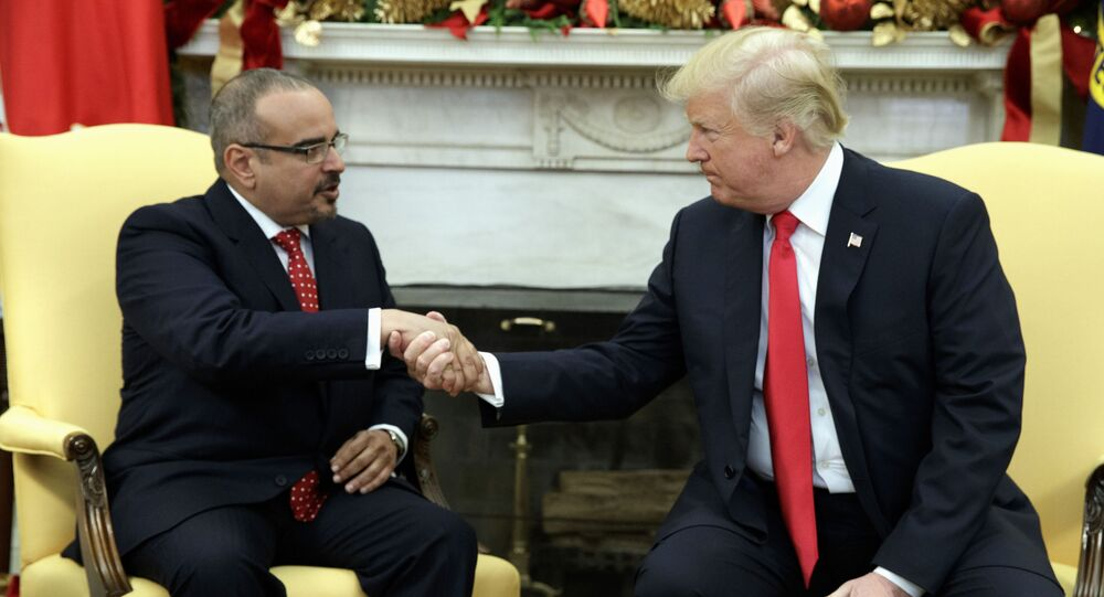 President Donald Trump meets with Bahrain's Crown Prince Salman bin Hamad Al Khalifa in the Oval Office of the White House