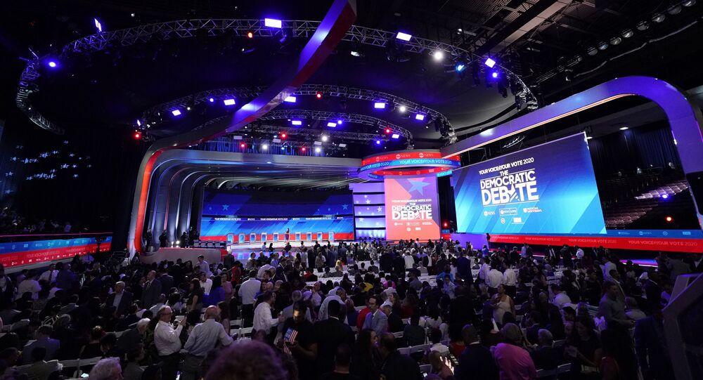 Audience members arrive before a Democratic presidential primary debate Thursday