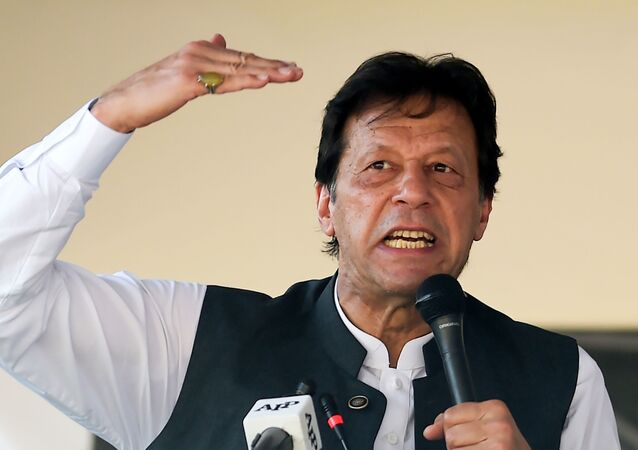 Pakistan's Prime Minister Imran Khan speaks during a rally in Muzaffarabad on September 13, 2019