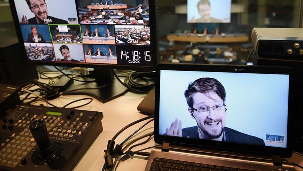 Former US National Security Agency (NSA) contractor and whistle blower Edward Snowden is seen on screen in a control room as he speaks via video link from Russia as he takes part in a round table meeting on the subject of Improving the protection of whistleblowers on March 15, 2019, at the Council of Europe in Strasbourg, eastern France. - Sputnik International